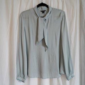 Brooks Light Blue Tie Front Blouse